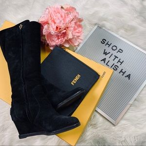 Fendi Suede Leather Knee High Boots